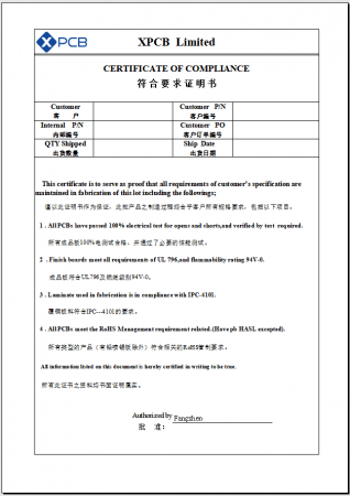 COC report from xpcb ltd
